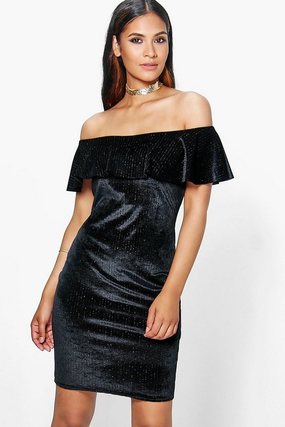 Brielle Velvet Metallic Off Shoulder Bodycon Dress