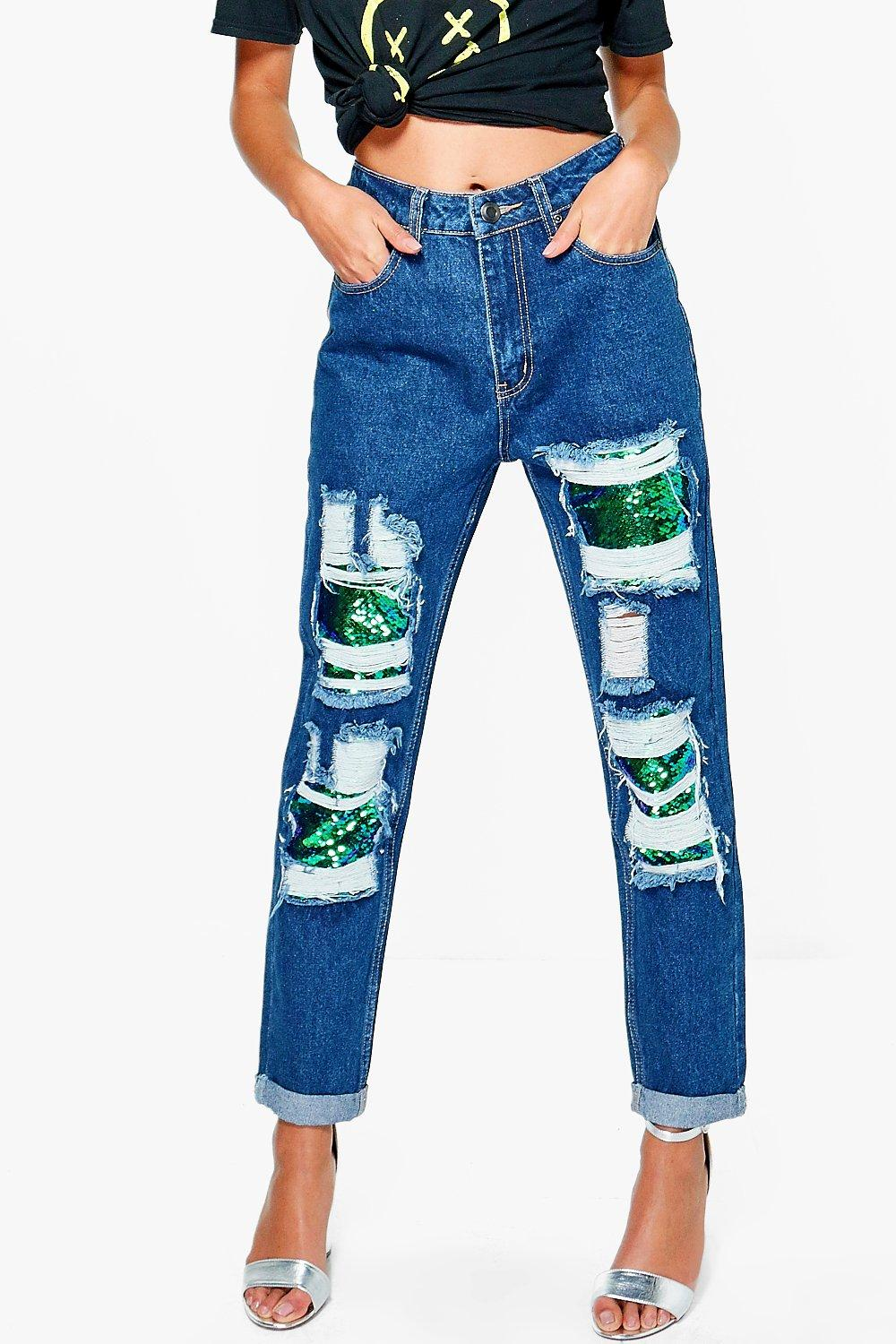 Hatty Sequin Distressed Boyfriend Jeans