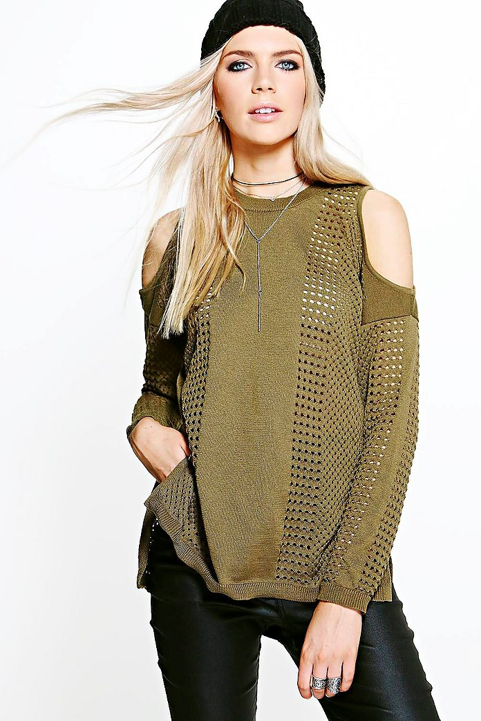 Annabelle Cold Shoulder Mesh Knit Jumper