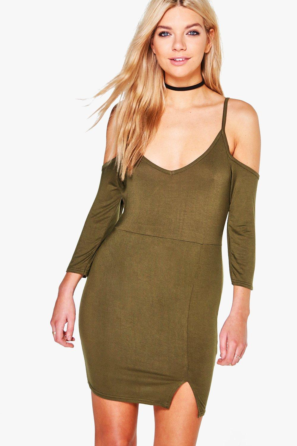 Ellie Cold Shoulder Split Front Bodycon Dress