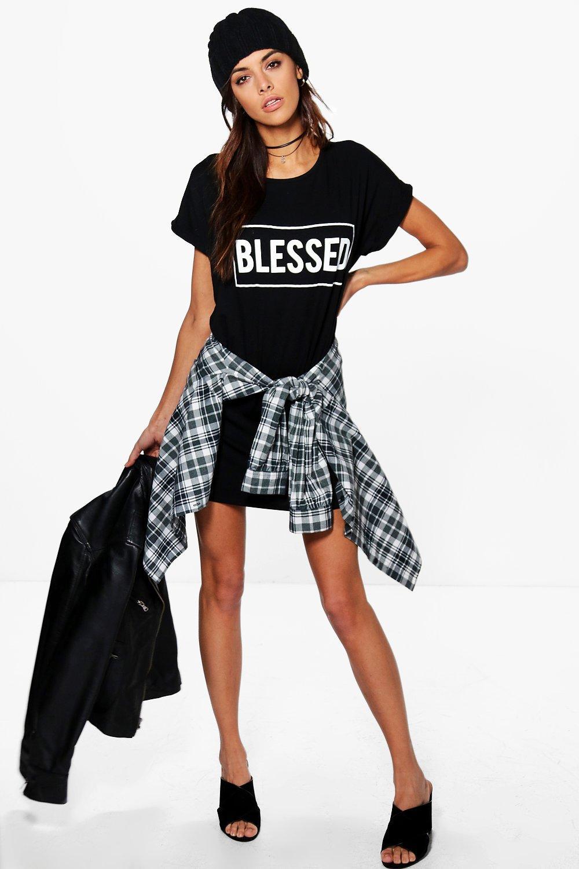 Blessed Slogan T-Shirt Dress - black