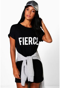Saskia Fierce Slogan T-Shirt Dress