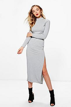 Daphne High Neck Split Side Midaxi Dress