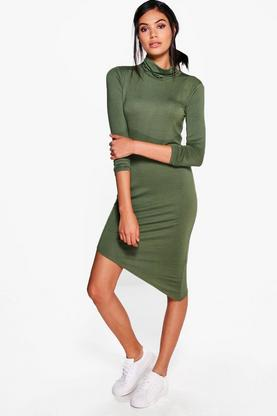 Alaina High Neck Asymmetric Shift Dress