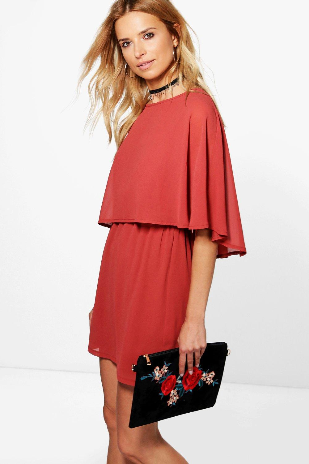 Astley Chiffon Cape Skater Dress
