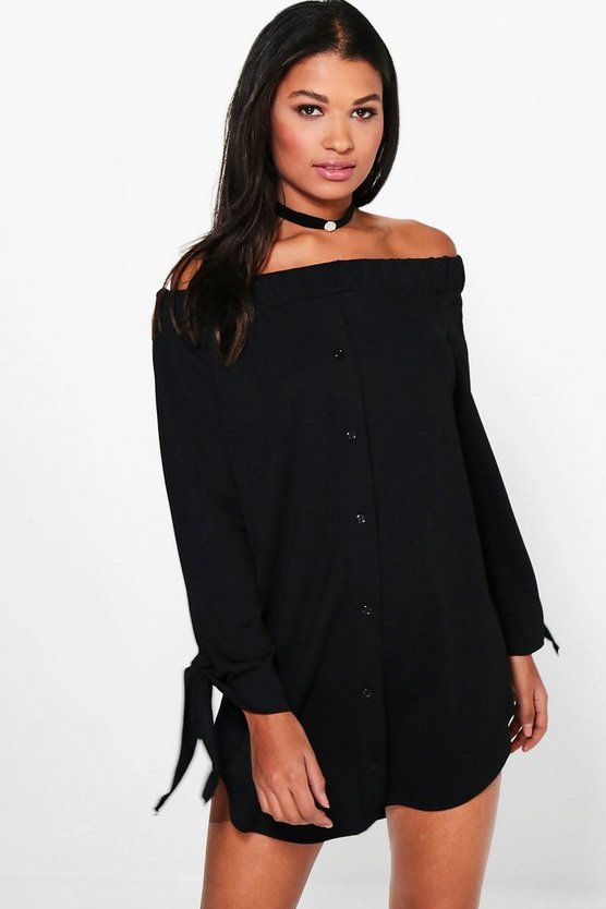 Bea Off Shoulder Button Through Shift Dress