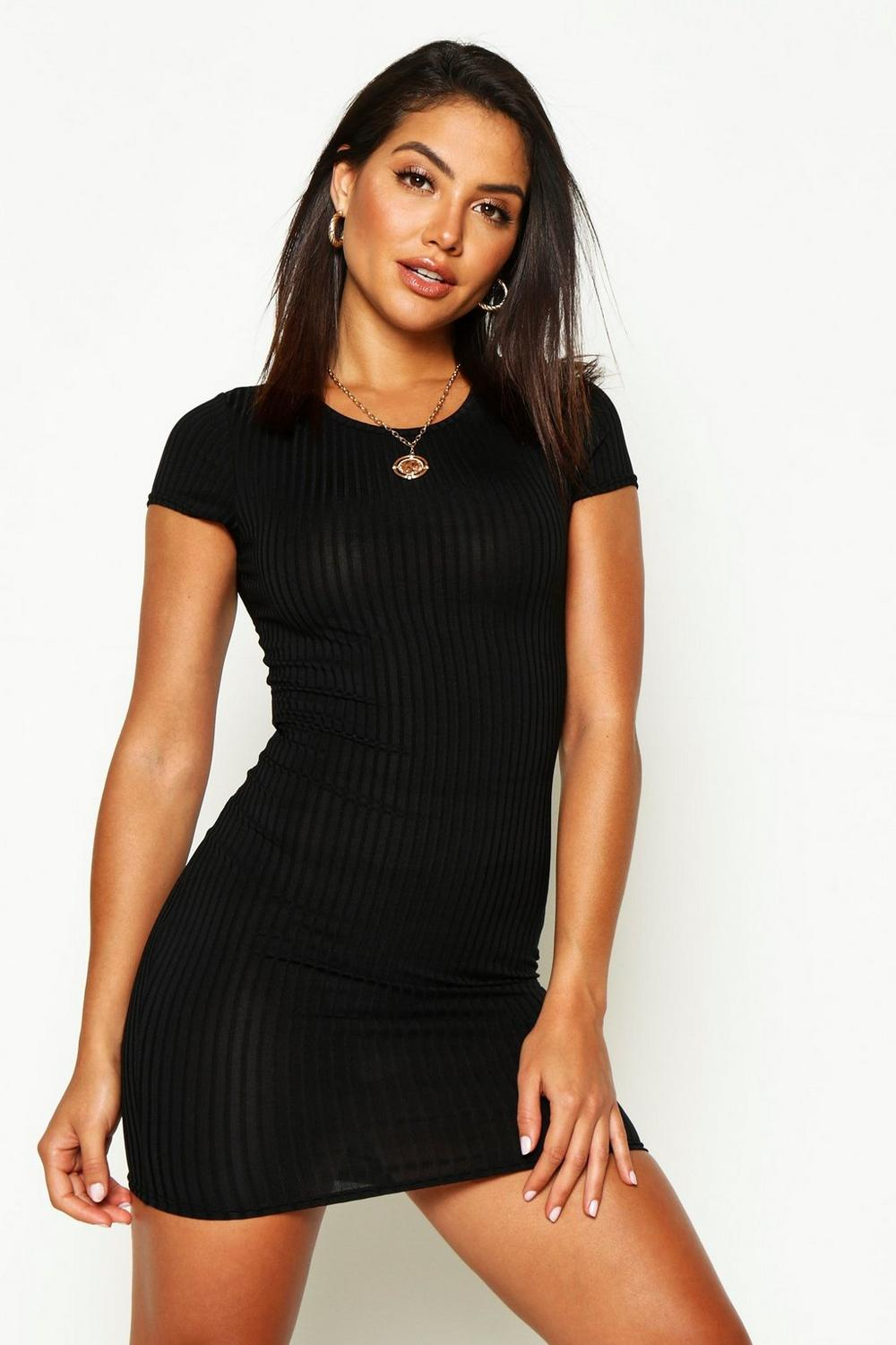 Joanie Ribbed Cap Sleeved Bodycon Dress