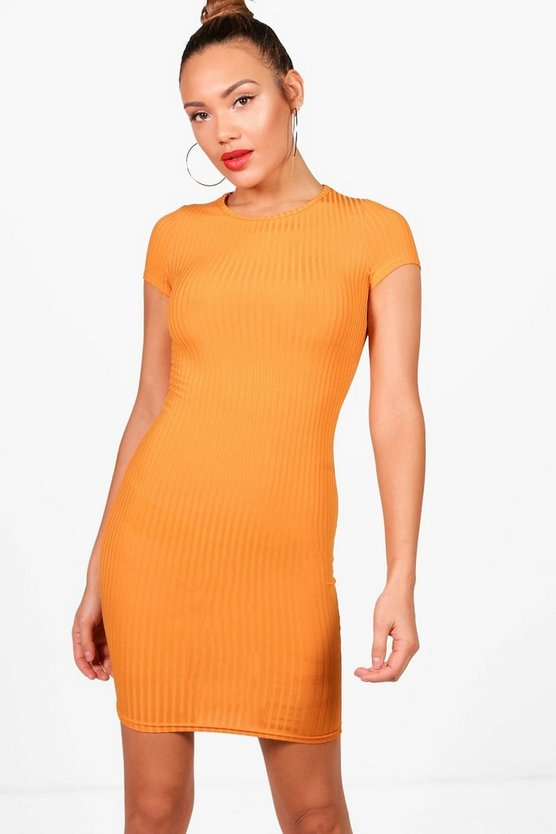 Ribbed Cap Sleeved Bodycon Dress