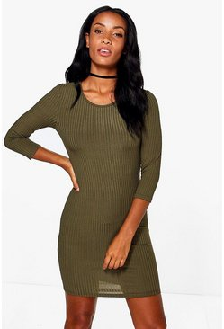 Sheeva Ribbed 3/4 Sleeved Bodycon Dress