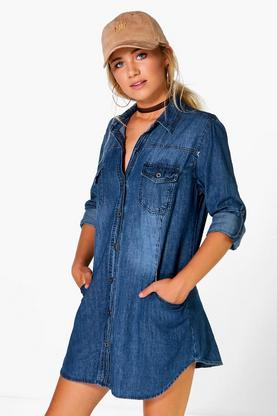 Beth Long Sleeve Denim Shirt Dress