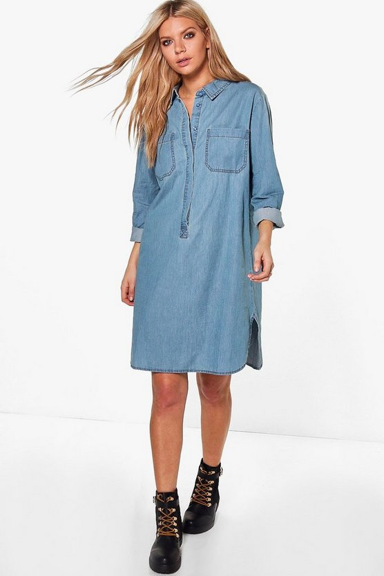 Rosin Long Sleeve Denim Shirt Dress