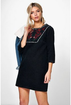 Roberta Embroidered Denim Tunic Dress
