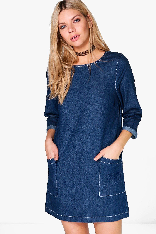 Wonderful Sugarhill Denim Tunic Dress With Bow Detail In Blue   Lyst