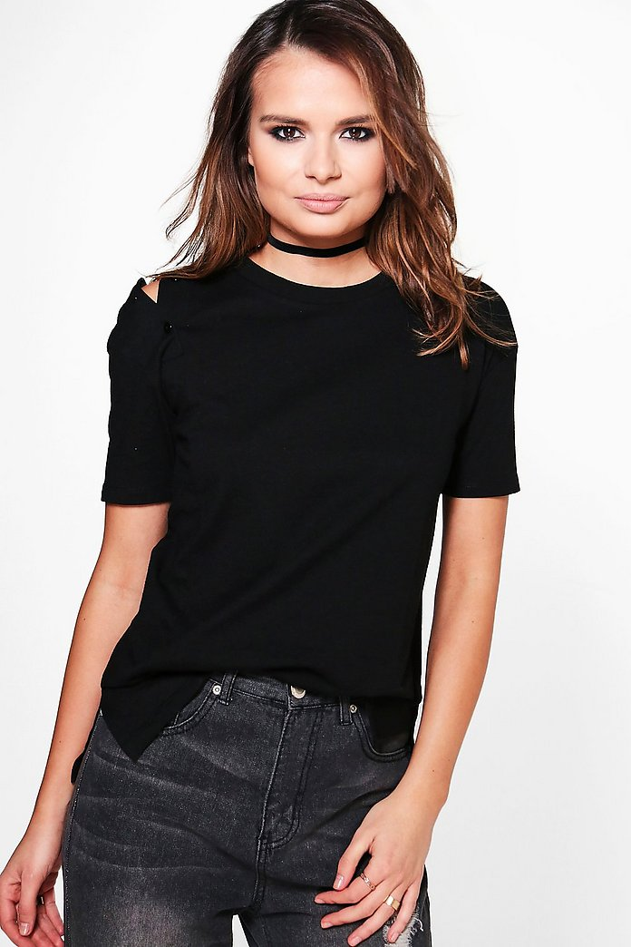 Lorna Button Detail Cold Shoulder T-Shirt