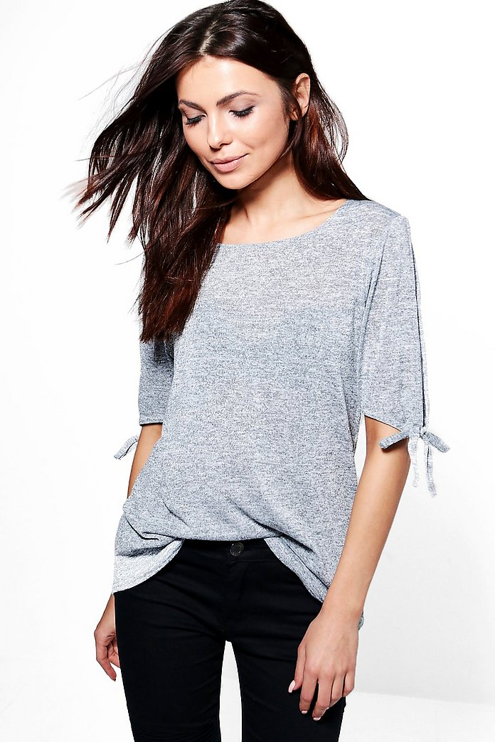 Libby Split Tie Sleeve Knitted T-Shirt