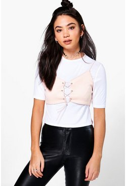 Grace 2 in 1 Ribbed Lace Up Top