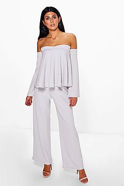 Mia Off The Shoulder Top & Wide Leg Trouser Co-Ord