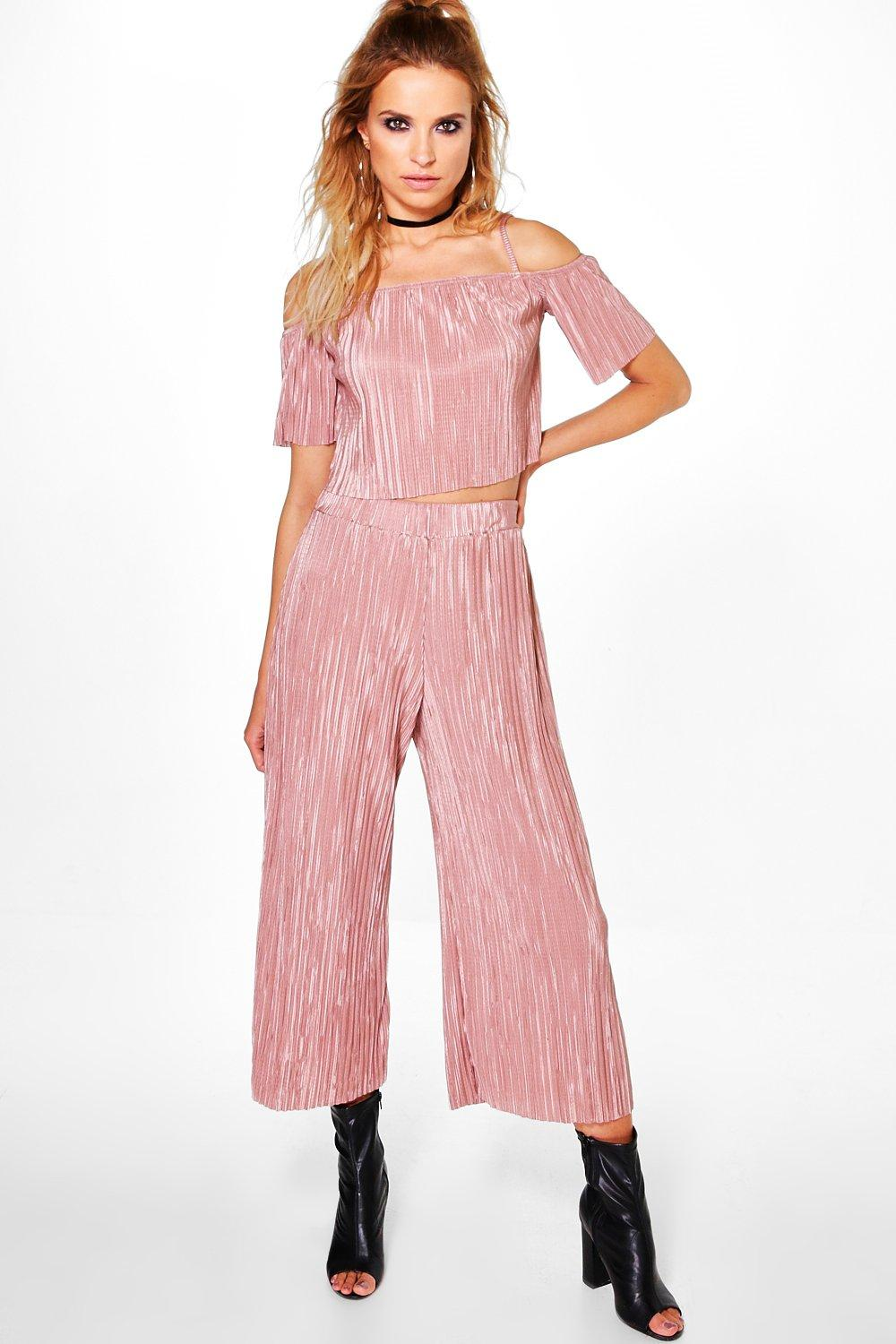 Tia Pleated Off The Shoulder Top & Culotte Co-Ord
