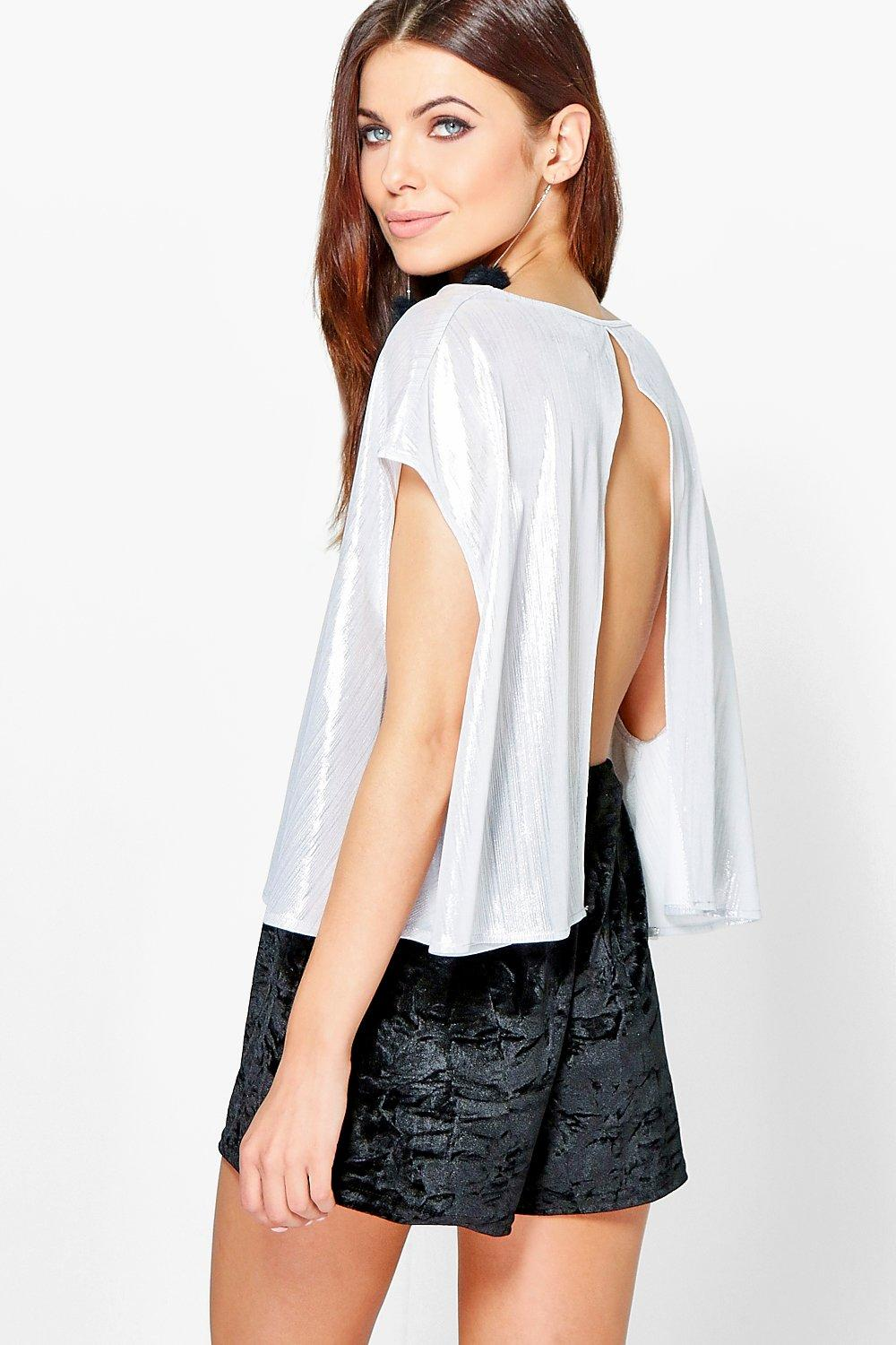 Esme Metallic Keyhole Back V Neck Top