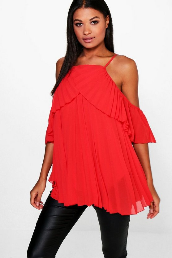 Molly Cold Shoulder Pleated Ruffle Top
