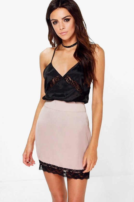 Maha Lace Trim Satin Slip Skirt