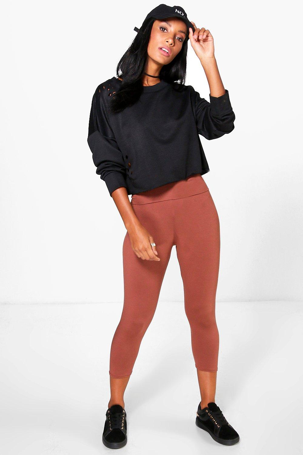 Carmela Fold Over Waistband Basic 3/4 Leggings amber