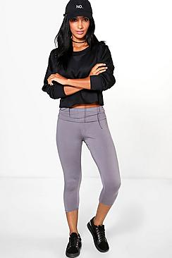 Carmela Fold Over Waistband Basic 3/4 Leggings