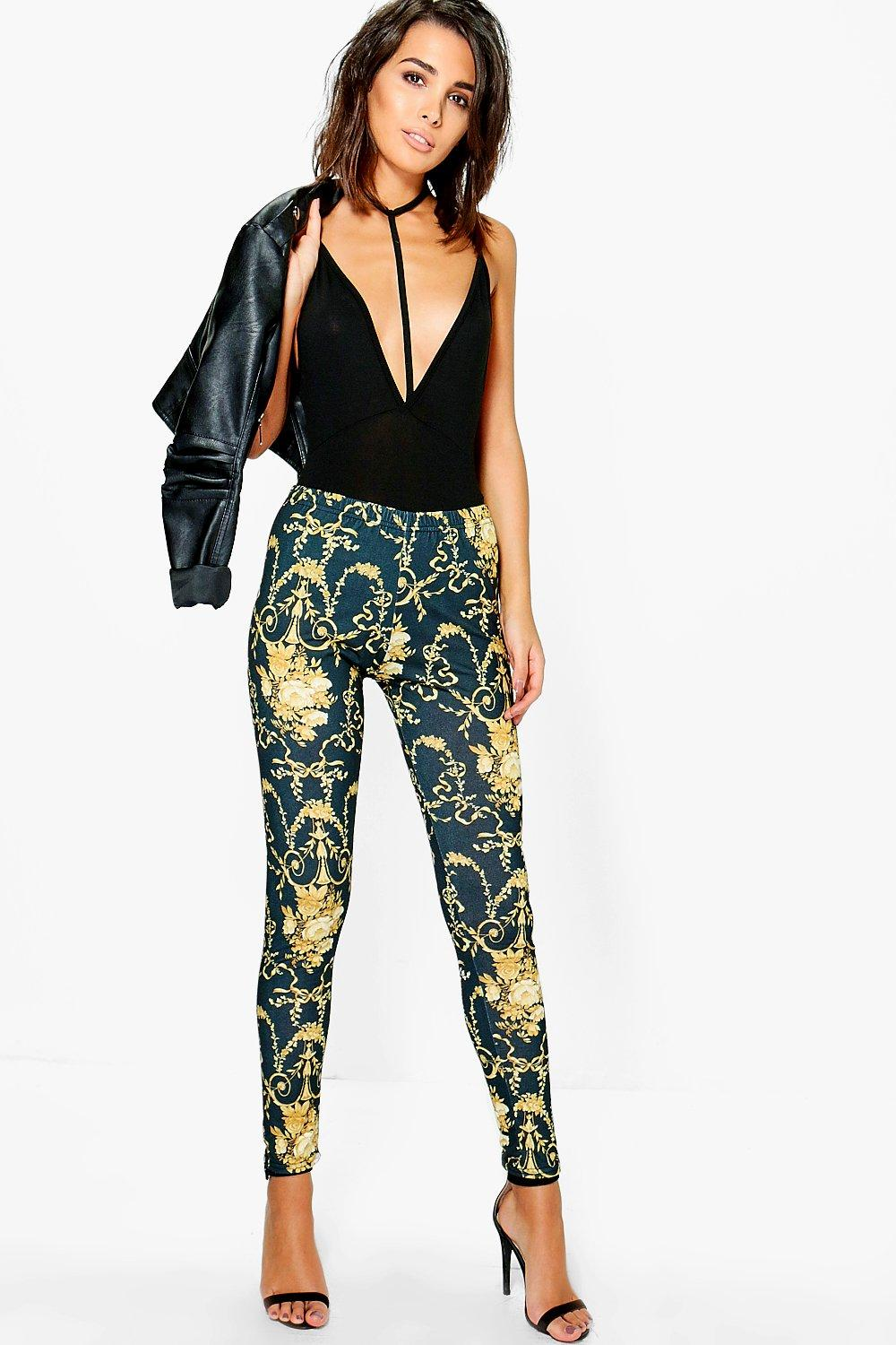 India Baroque Print Leggings black