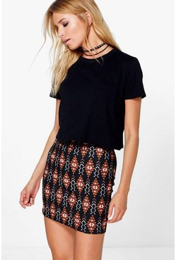 Avisa Autumnal Aztec Mini Skirt