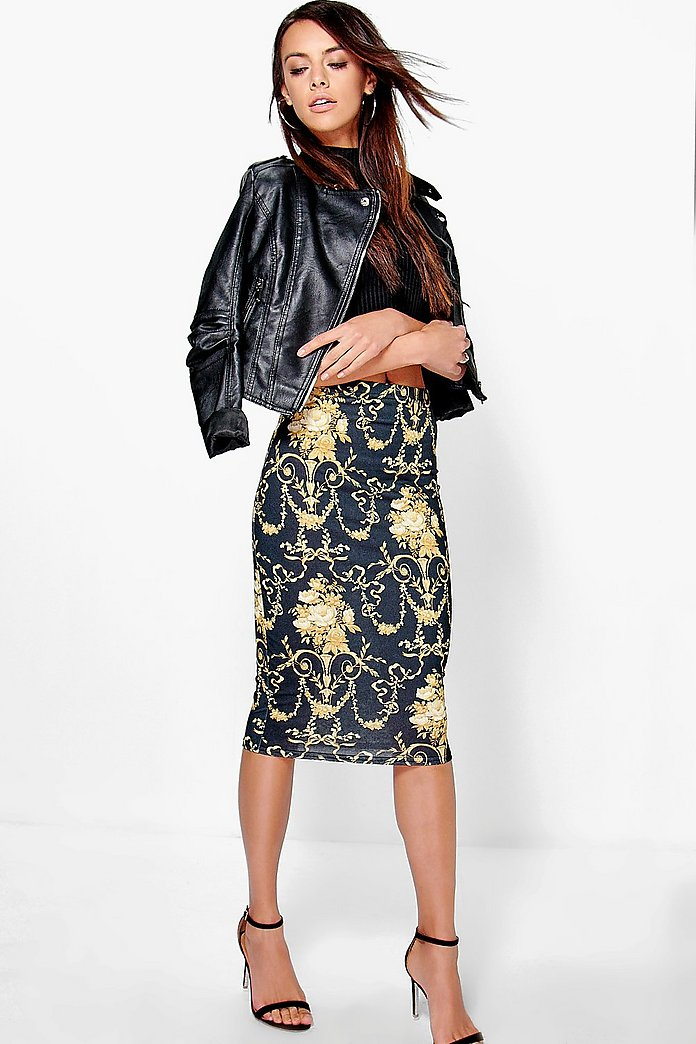 Indiana Baroque Print Midi Skirt