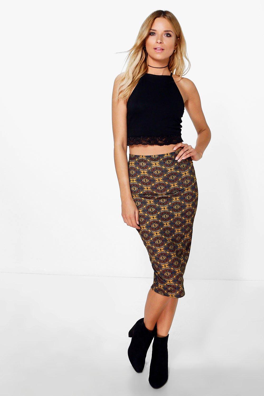 Bohemian Print Midi Skirt - multi