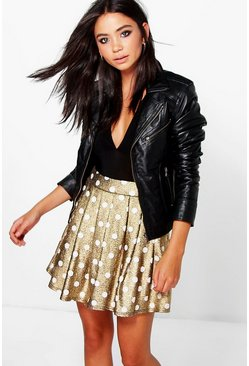 Honor Metallic Polka Dot Skater Skirt