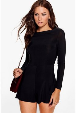 Bella Cowl Back Long Sleeve Playsuit