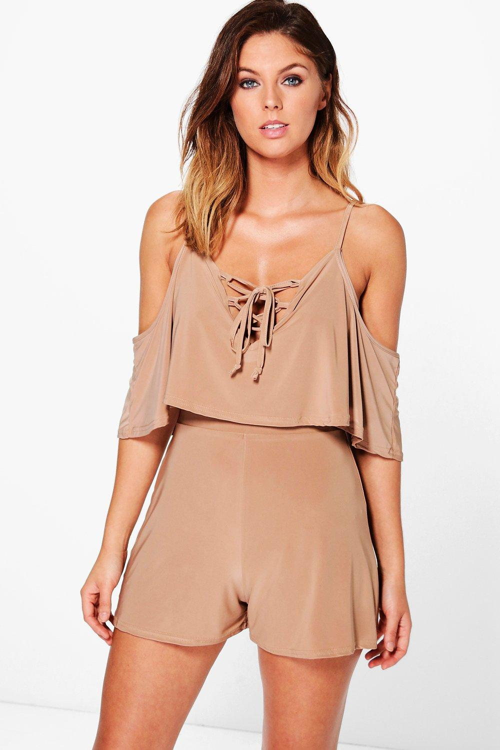 Mia Lace Up Front Open Shoulder Playsuit