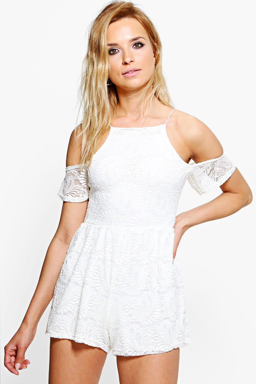 Amy Lace Open Shoulder Playsuit