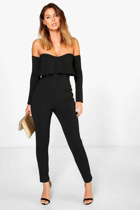 Bardot Long Sleeve Skinny Leg Jumpsuit