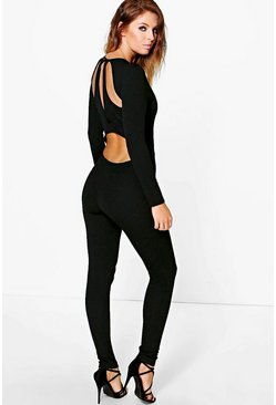 Lila Cut Out Back Long Sleeve Jumpsuit