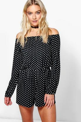 Lois Polka Dot Off The Shoulder Playsuit