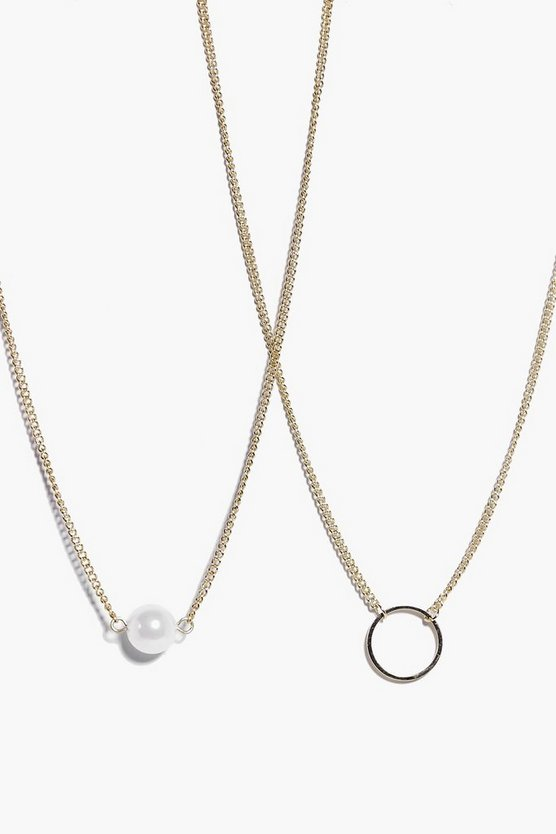Nina Dainty Pearl and Circle Necklace Pack