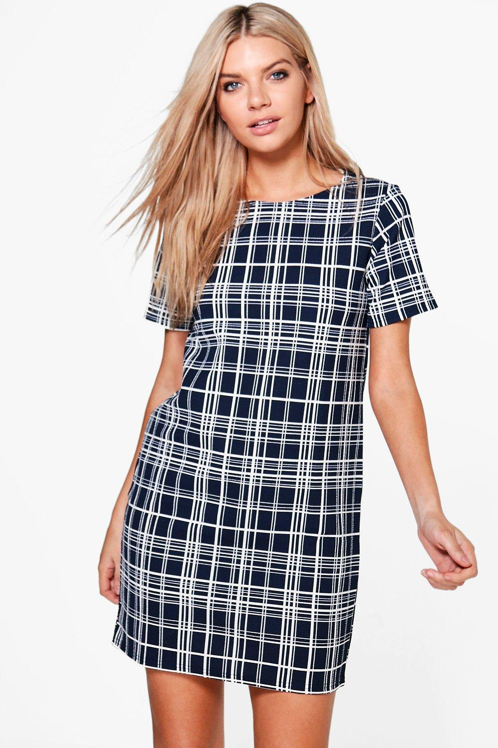 Jessica Check Cap Sleeve Shift Dress