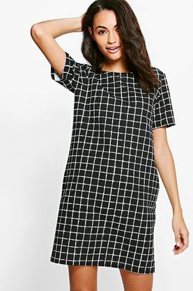 Hannah Check Cap Sleeve Shift Dress
