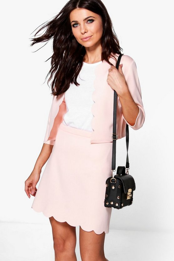 Milly Scallop Hem Bed Jacket & Mini Skirt Set