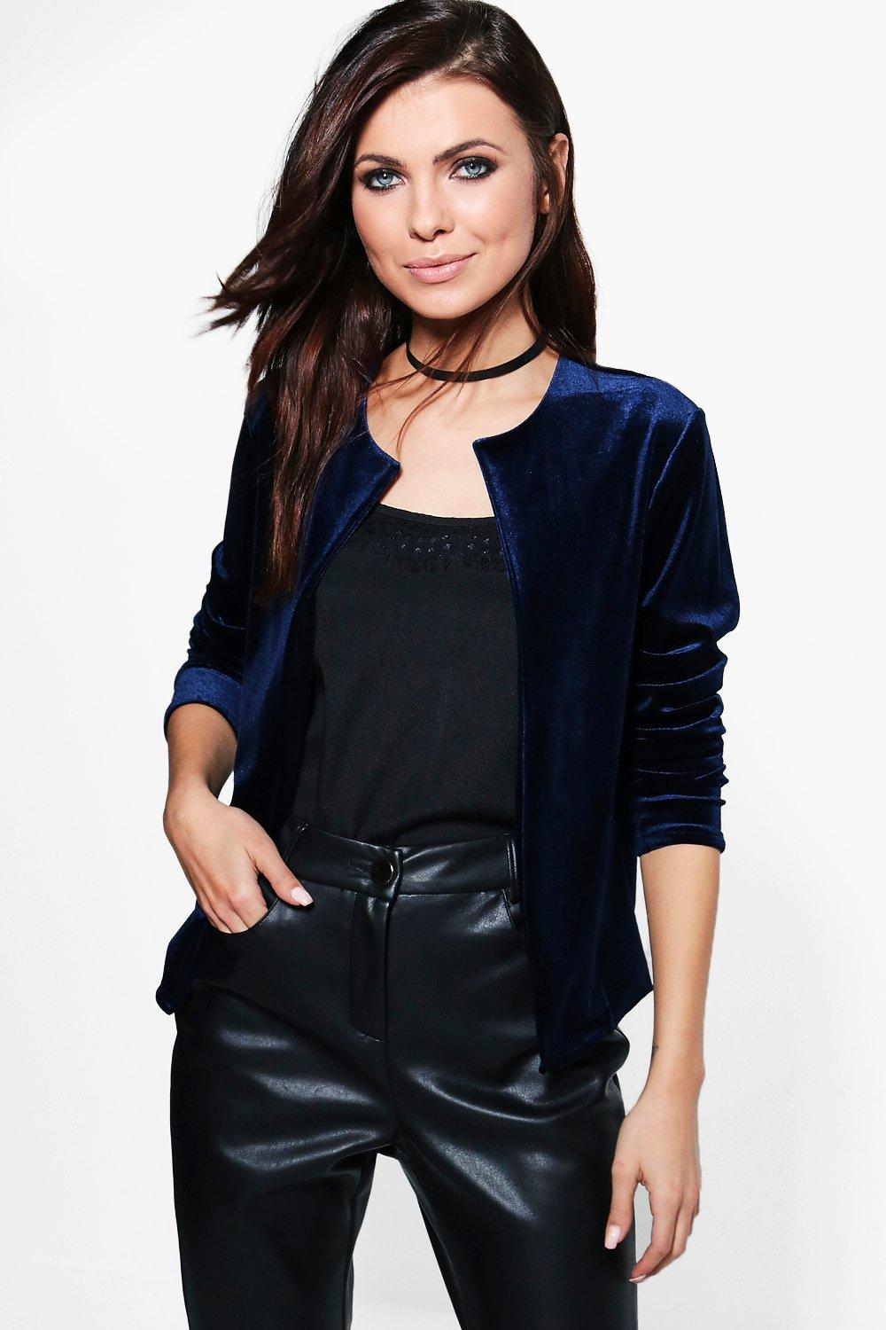 Grace Velvet Crop Edge to Edge Jacket