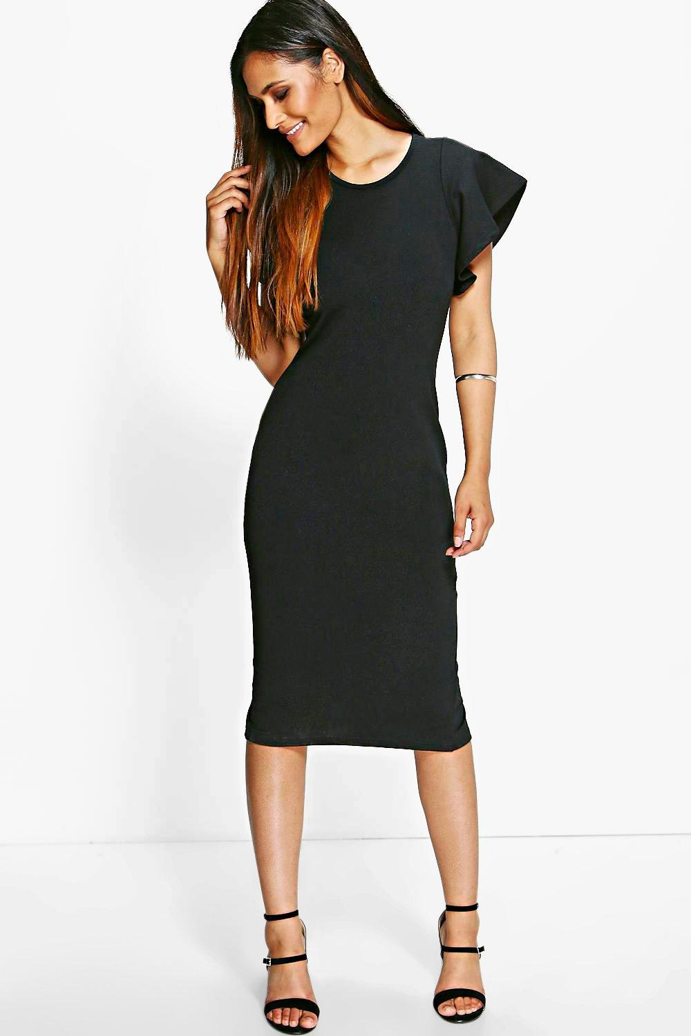 Maisie Frill Sleeve Tailored Bodycon Midi Dress
