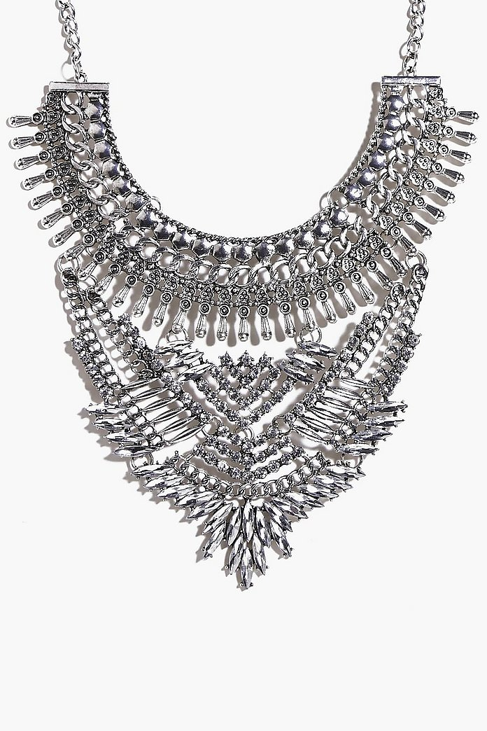 Neve Chain & Diamante Statement Necklace