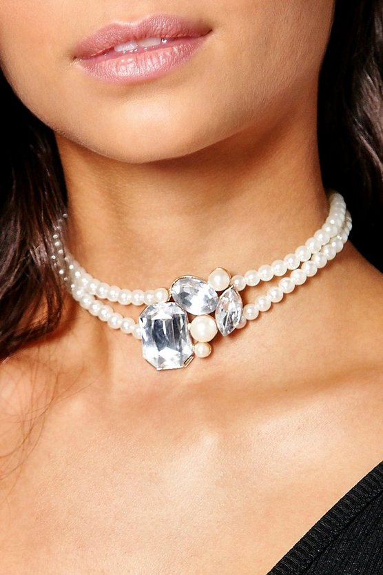 Paige Stone Flower Pearl Necklace