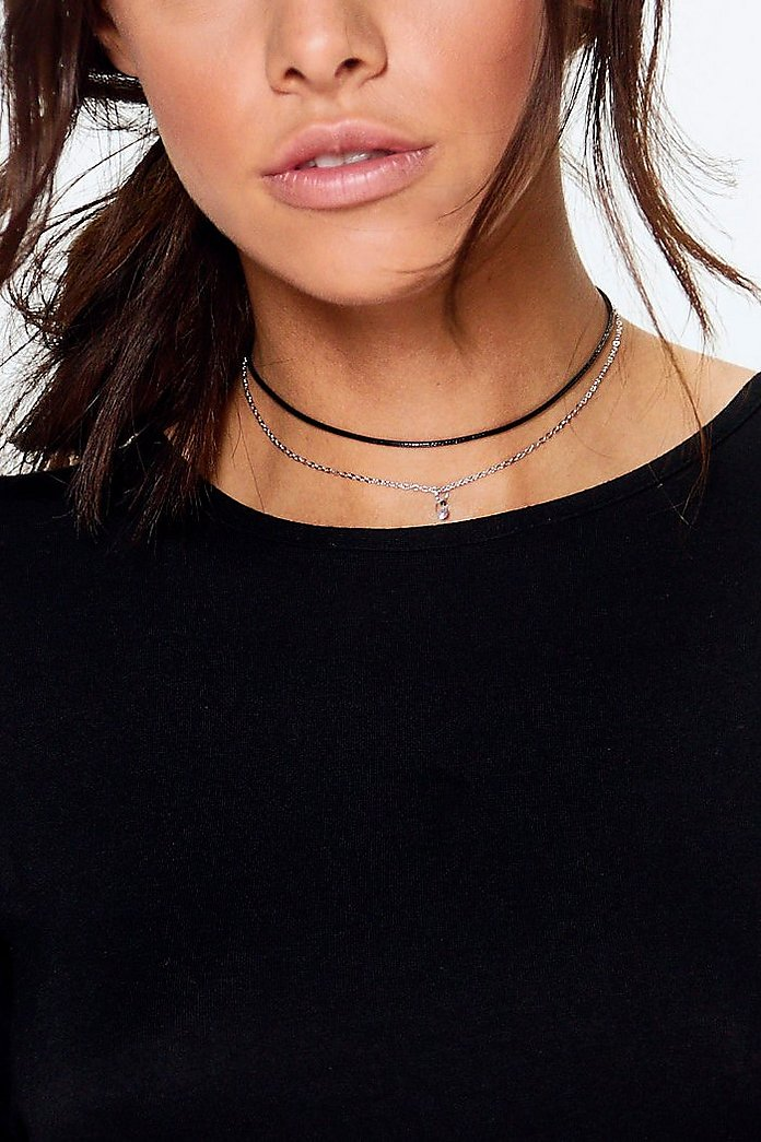 Anna Thin PU Diamante Double Layer Choker