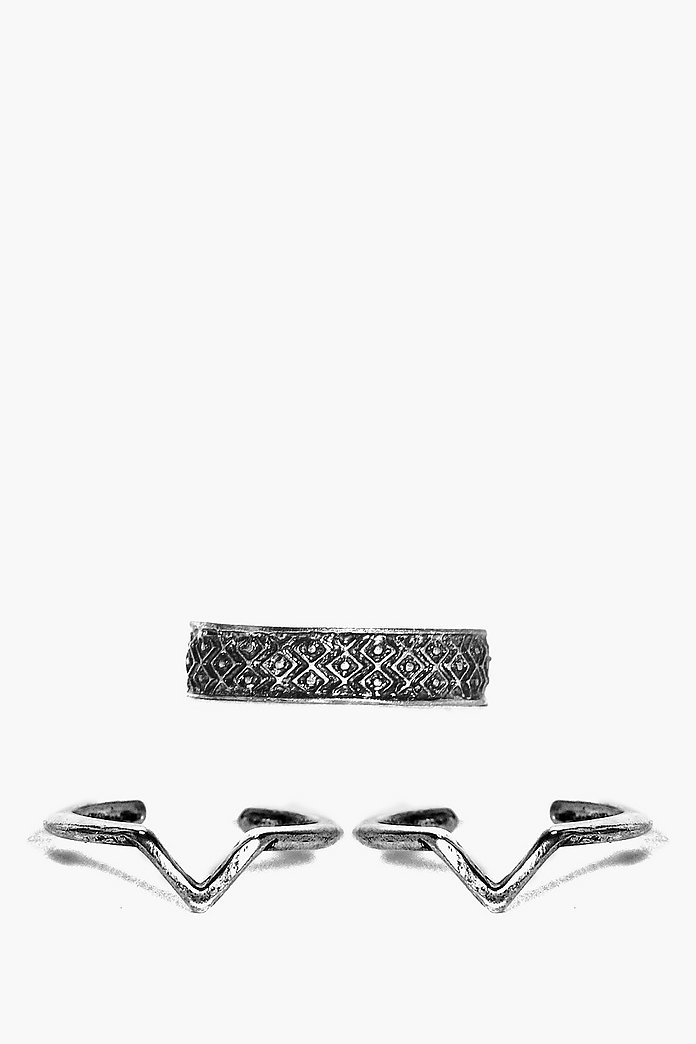 Louise Adjustable Chevron and Midi Ring Pack