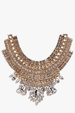 Rachel Multi Chain Link Diamante Necklace