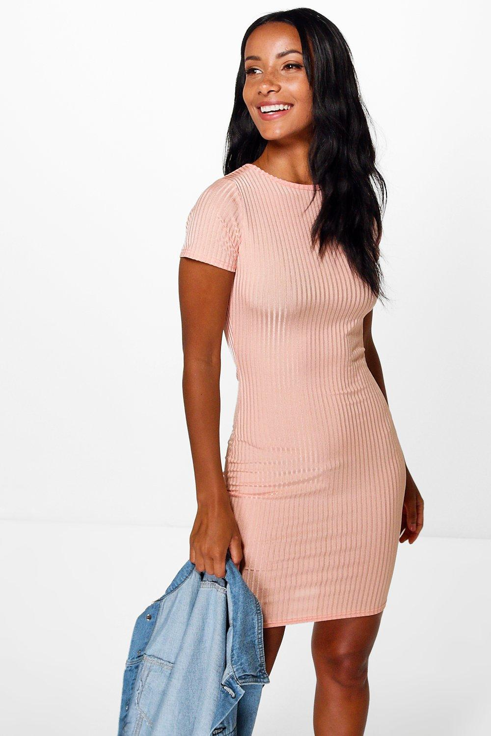 Liz Cap Sleeve Ribbed Midi Dress